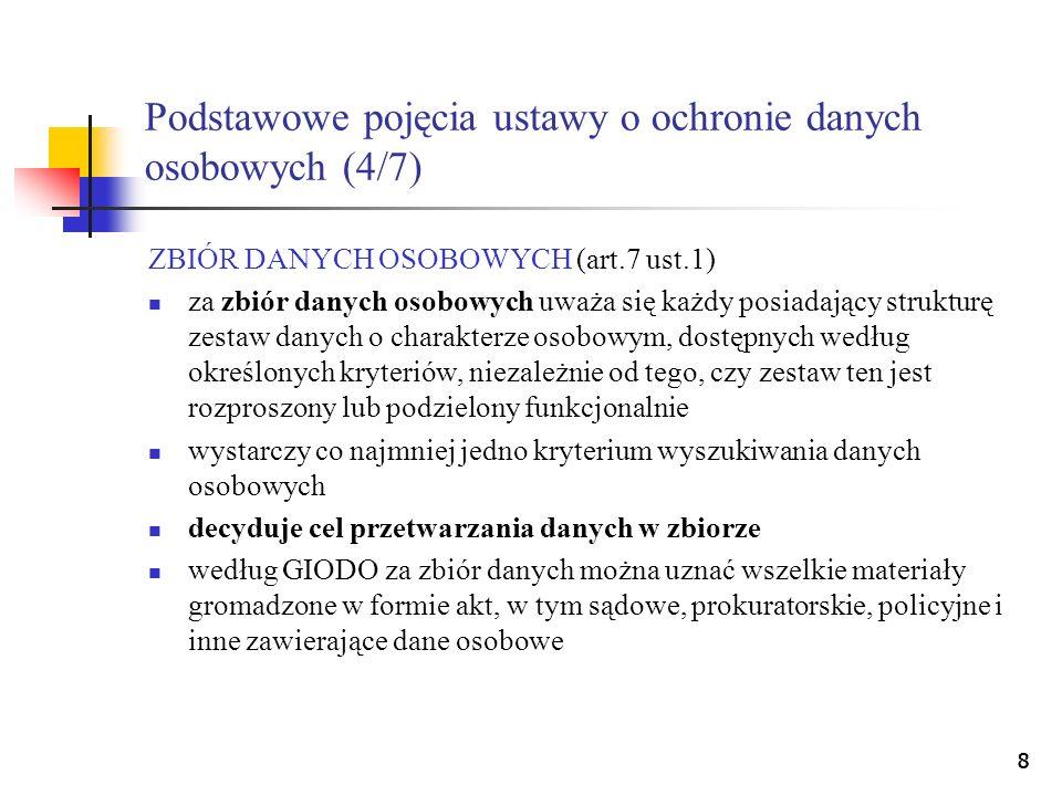 Podstawowe pojęcia ustawy o ochronie danych osobowych (4/7)