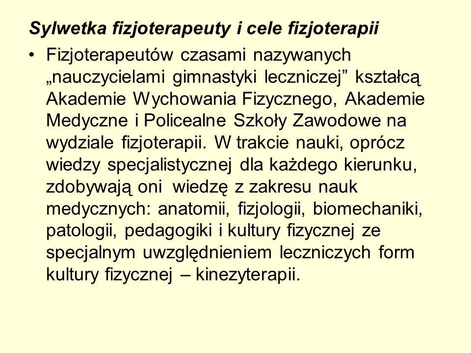 Sylwetka fizjoterapeuty i cele fizjoterapii