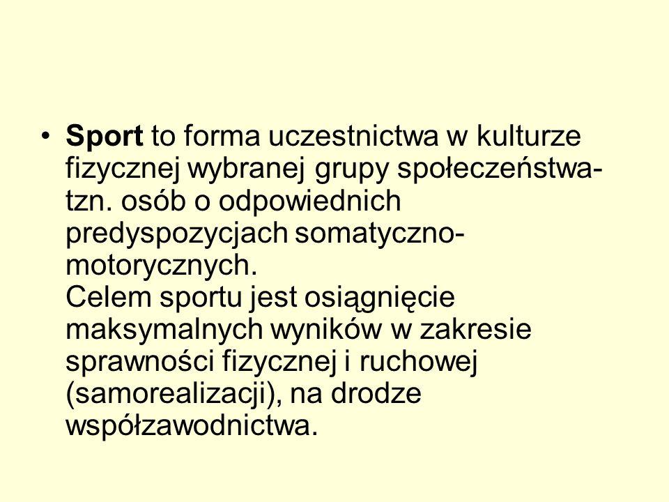 Sport to forma uczestnictwa w kulturze fizycznej wybranej grupy społeczeństwa- tzn.