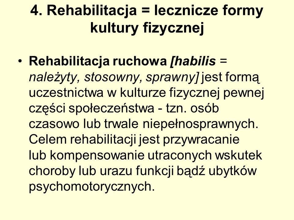 4. Rehabilitacja = lecznicze formy kultury fizycznej
