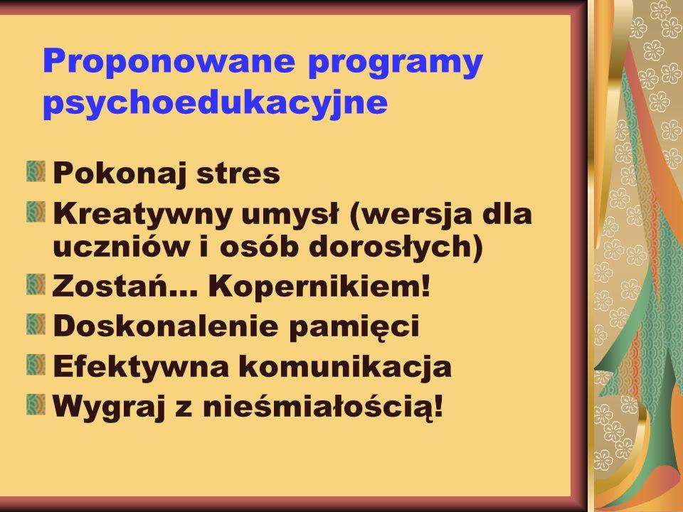Proponowane programy psychoedukacyjne