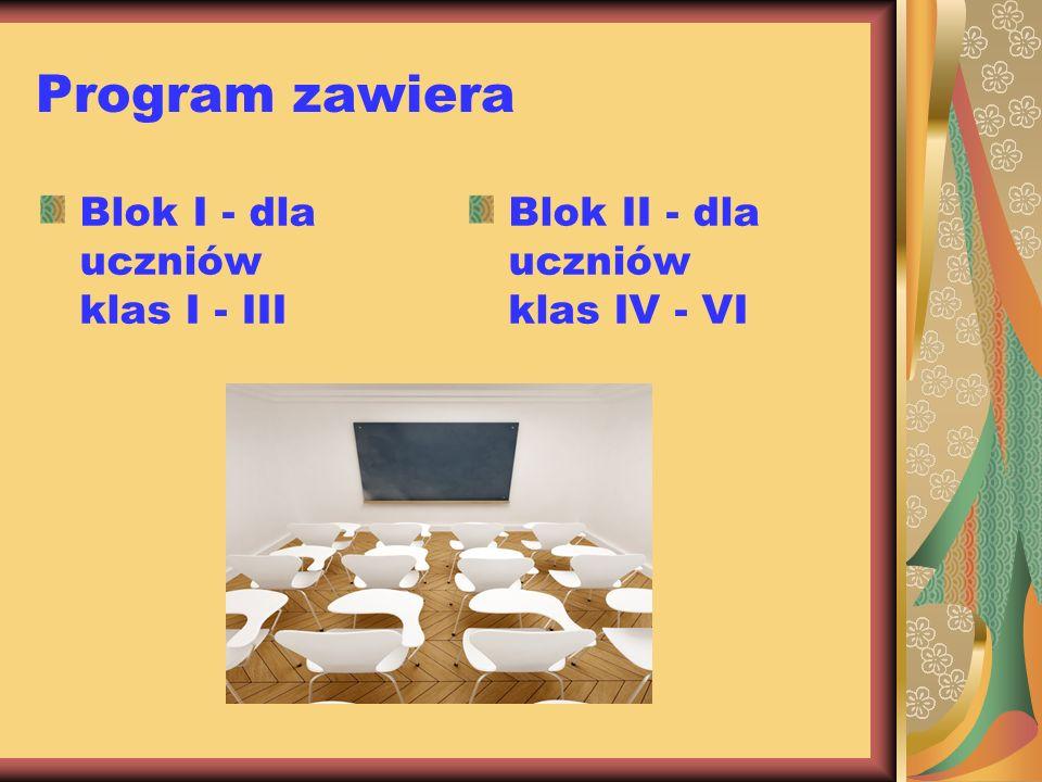 Program zawiera Blok I - dla uczniów klas I - III