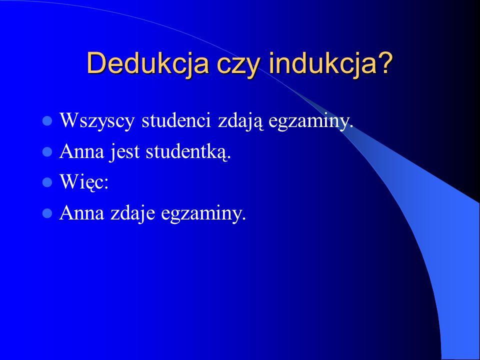 Dedukcja czy indukcja Wszyscy studenci zdają egzaminy.