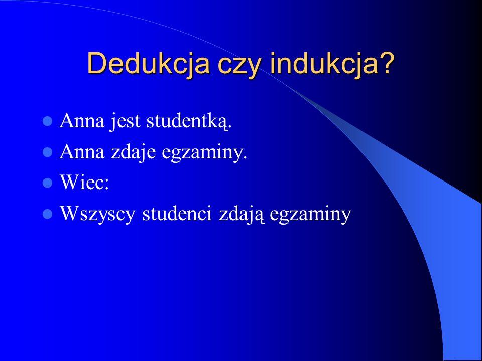 Dedukcja czy indukcja Anna jest studentką. Anna zdaje egzaminy. Wiec: