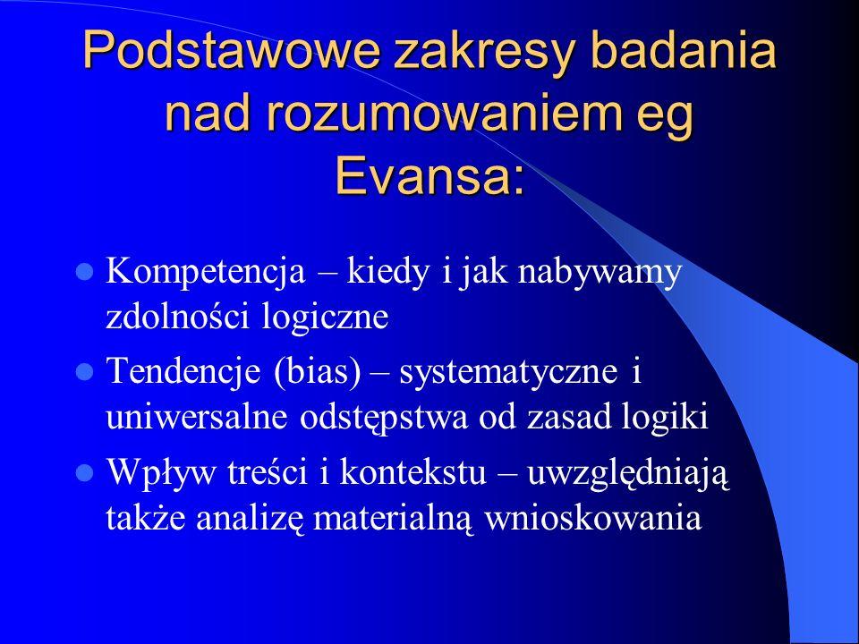 Podstawowe zakresy badania nad rozumowaniem eg Evansa: