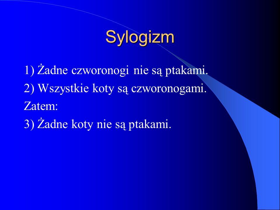 Sylogizm 1) Żadne czworonogi nie są ptakami.
