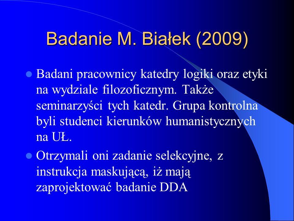 Badanie M. Białek (2009)
