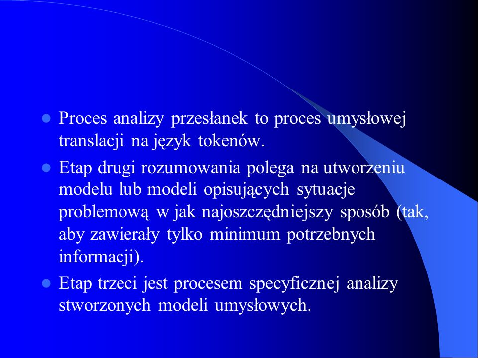 Proces analizy przesłanek to proces umysłowej translacji na język tokenów.