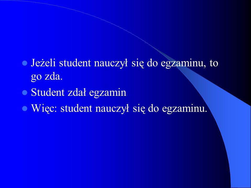 Jeżeli student nauczył się do egzaminu, to go zda.