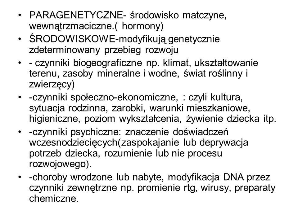 PARAGENETYCZNE- środowisko matczyne, wewnątrzmaciczne.( hormony)