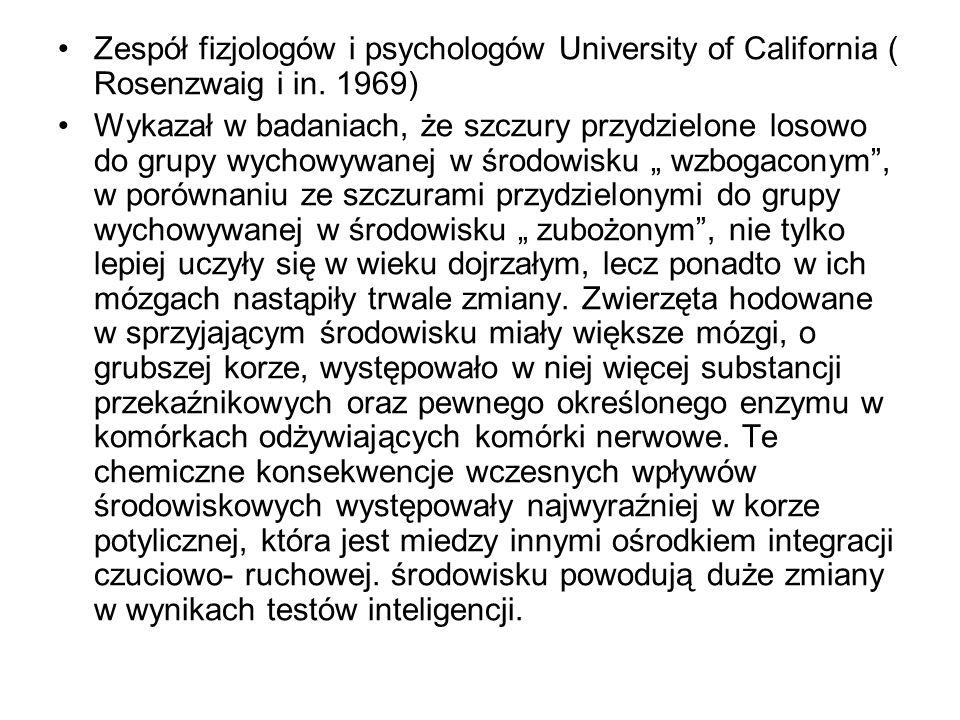 Zespół fizjologów i psychologów University of California ( Rosenzwaig i in. 1969)