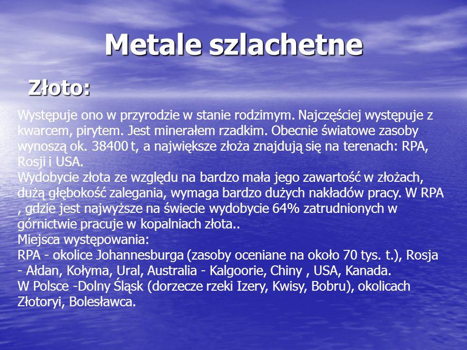 Metale szlachetne Złoto: