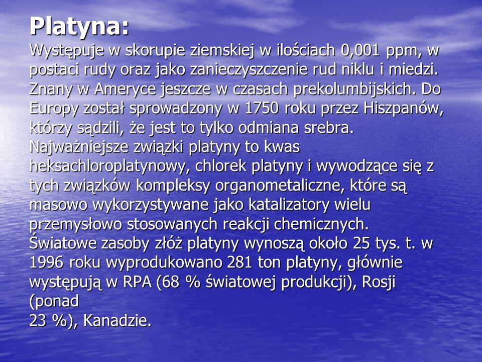 Platyna: Występuje w skorupie ziemskiej w ilościach 0,001 ppm, w