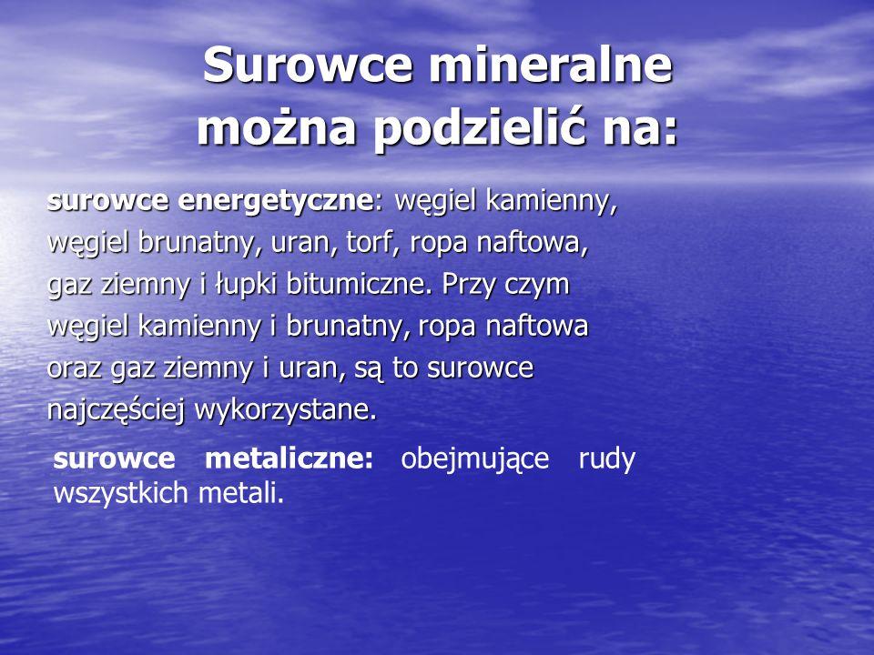 Surowce mineralne można podzielić na: