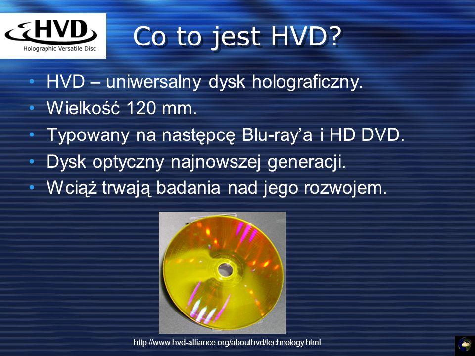 Co to jest HVD HVD – uniwersalny dysk holograficzny. Wielkość 120 mm.