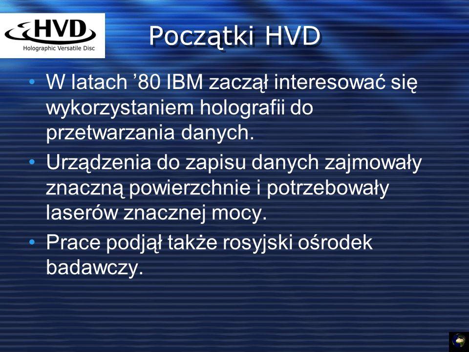 Początki HVD W latach '80 IBM zaczął interesować się wykorzystaniem holografii do przetwarzania danych.