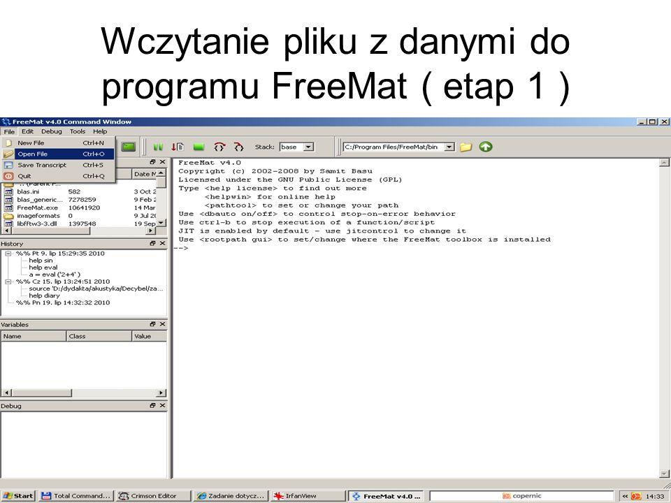 Wczytanie pliku z danymi do programu FreeMat ( etap 1 )
