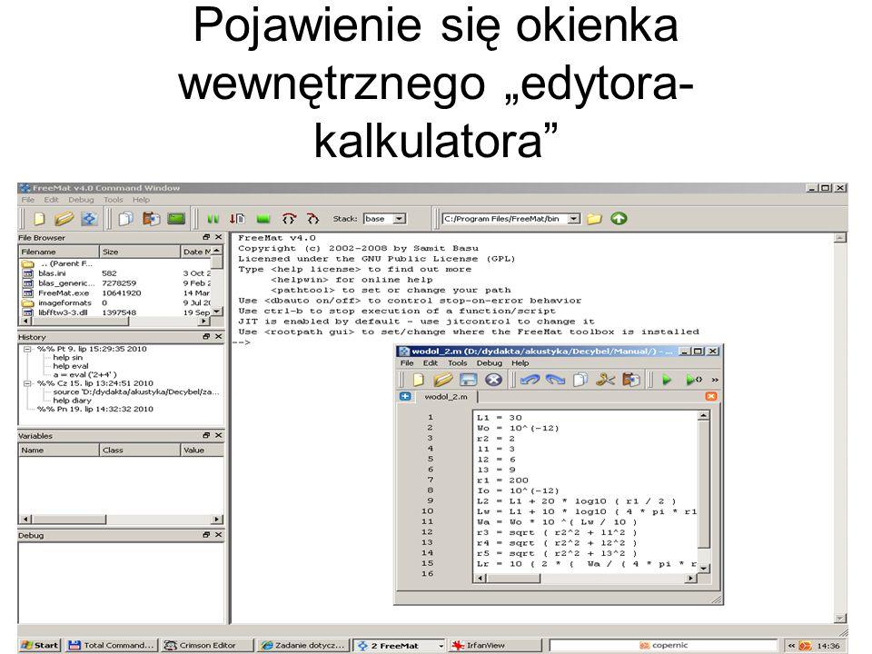 """Pojawienie się okienka wewnętrznego """"edytora-kalkulatora"""