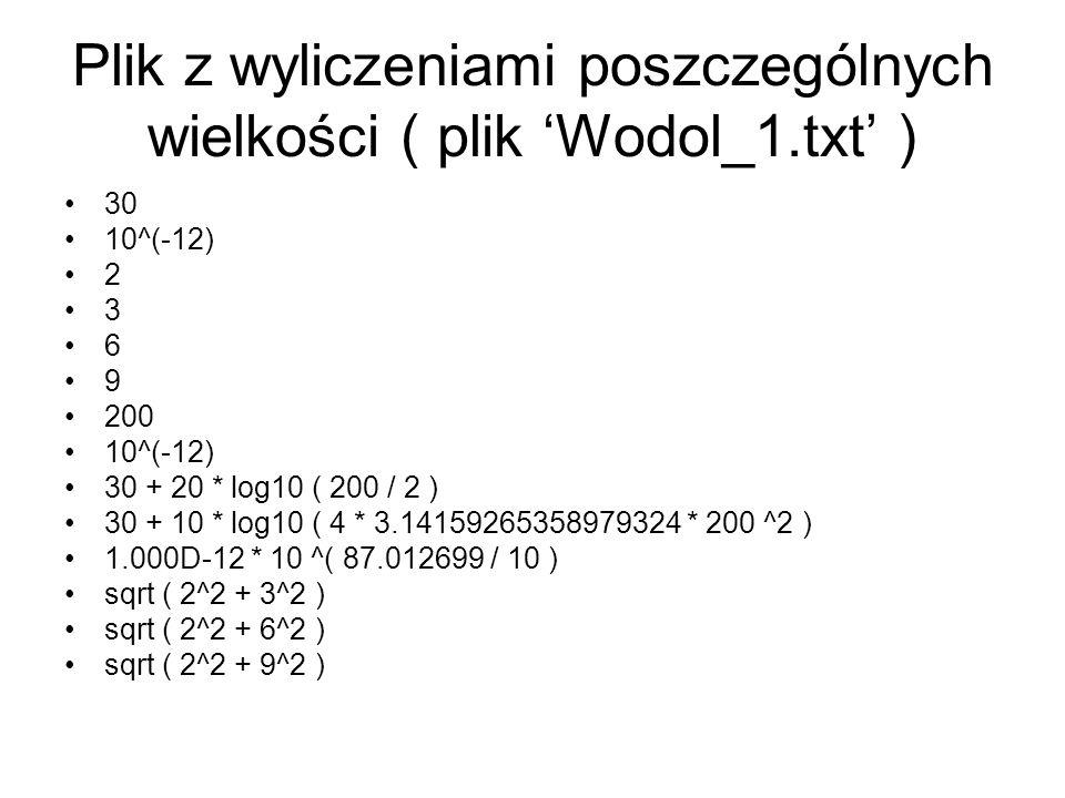 Plik z wyliczeniami poszczególnych wielkości ( plik 'Wodol_1.txt' )