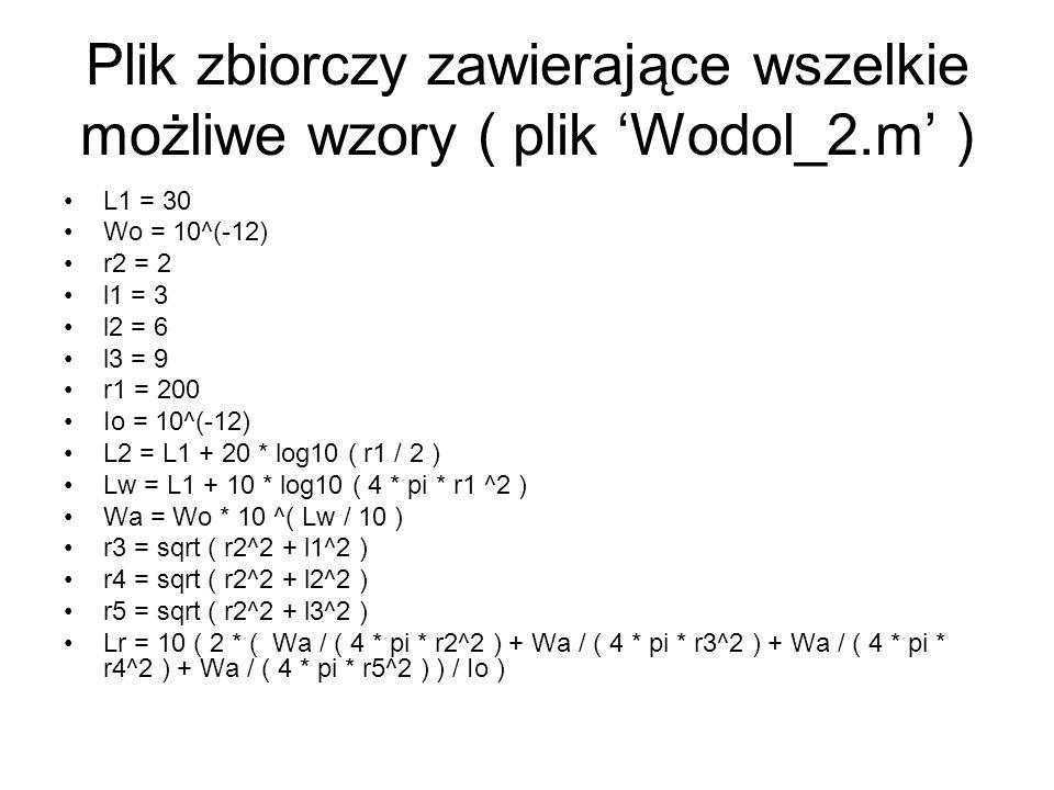 Plik zbiorczy zawierające wszelkie możliwe wzory ( plik 'Wodol_2.m' )