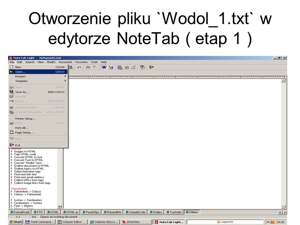 Otworzenie pliku `Wodol_1.txt` w edytorze NoteTab ( etap 1 )