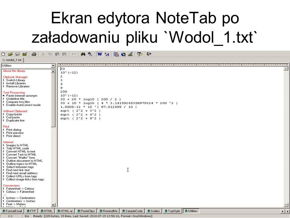 Ekran edytora NoteTab po załadowaniu pliku `Wodol_1.txt`