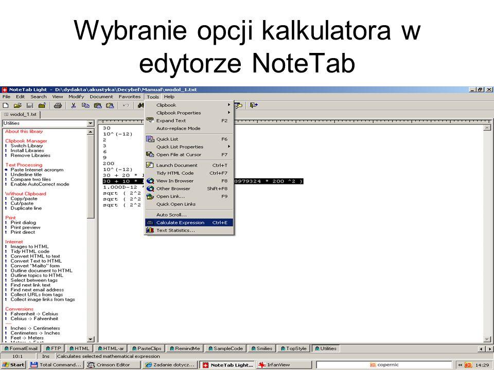Wybranie opcji kalkulatora w edytorze NoteTab