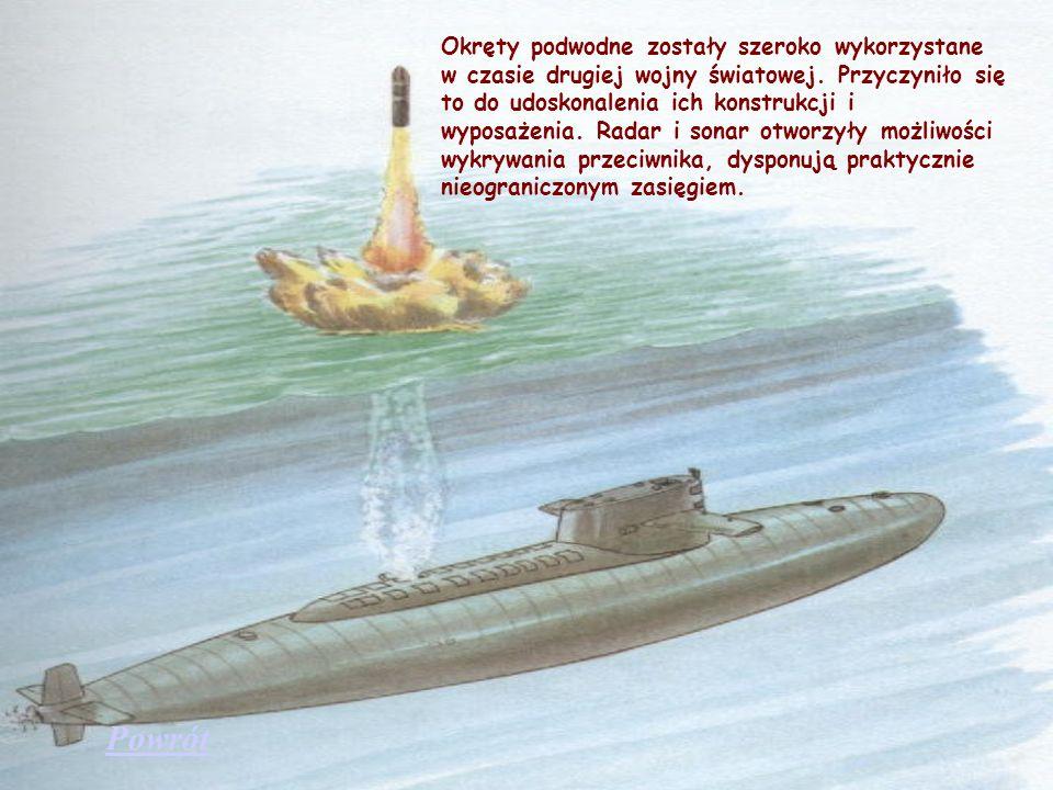 Okręty podwodne zostały szeroko wykorzystane w czasie drugiej wojny światowej. Przyczyniło się to do udoskonalenia ich konstrukcji i wyposażenia. Radar i sonar otworzyły możliwości wykrywania przeciwnika, dysponują praktycznie nieograniczonym zasięgiem.