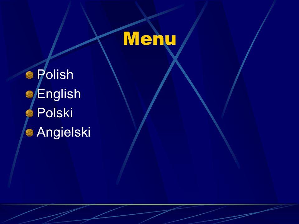Menu Polish English Polski Angielski