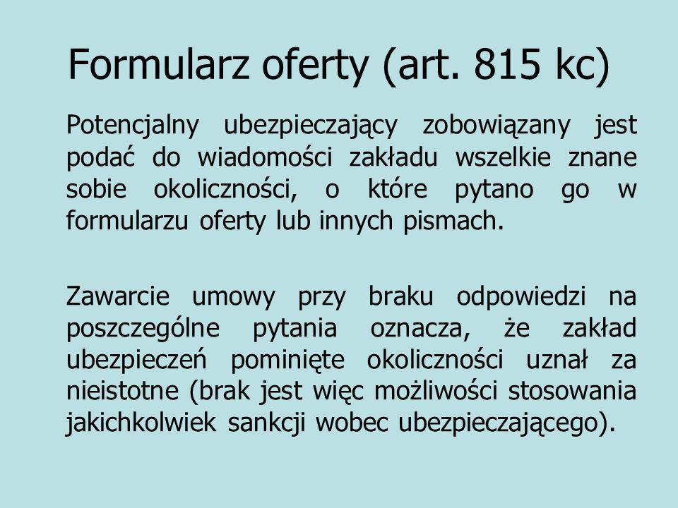 Formularz oferty (art. 815 kc)