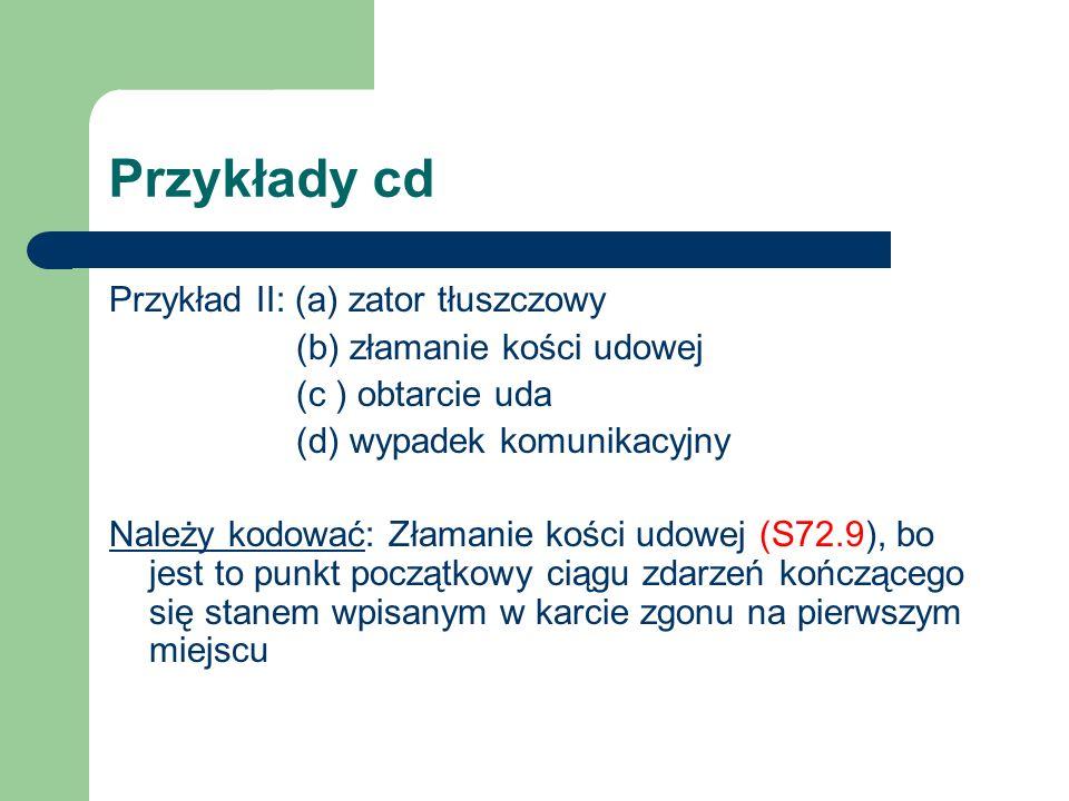 Przykłady cd Przykład II: (a) zator tłuszczowy