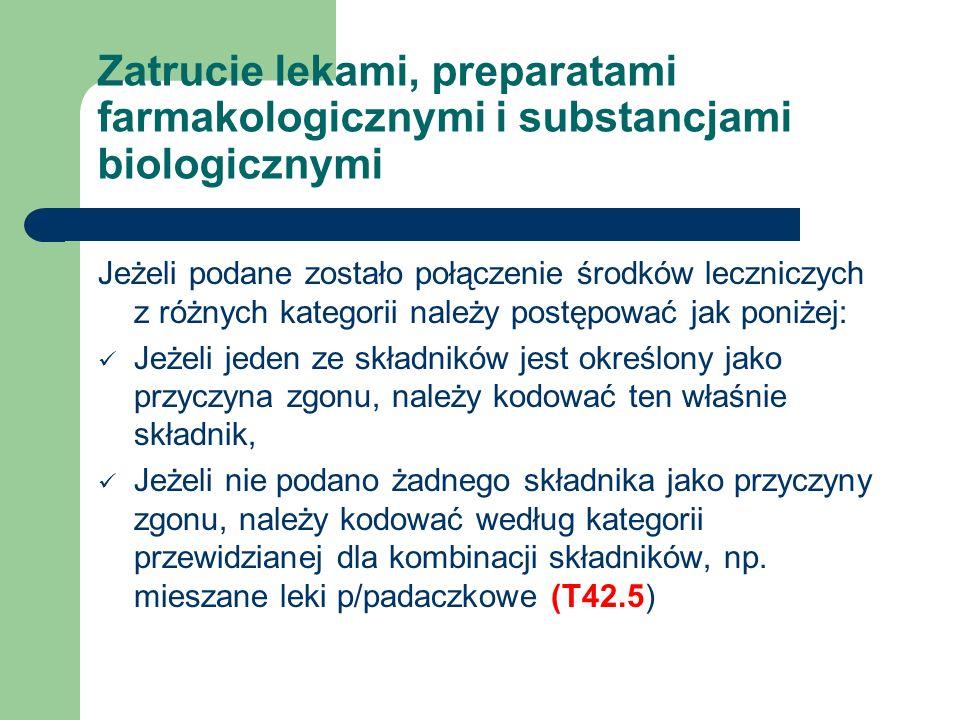 Zatrucie lekami, preparatami farmakologicznymi i substancjami biologicznymi