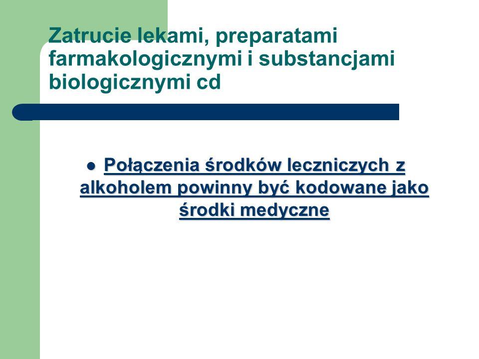 Zatrucie lekami, preparatami farmakologicznymi i substancjami biologicznymi cd
