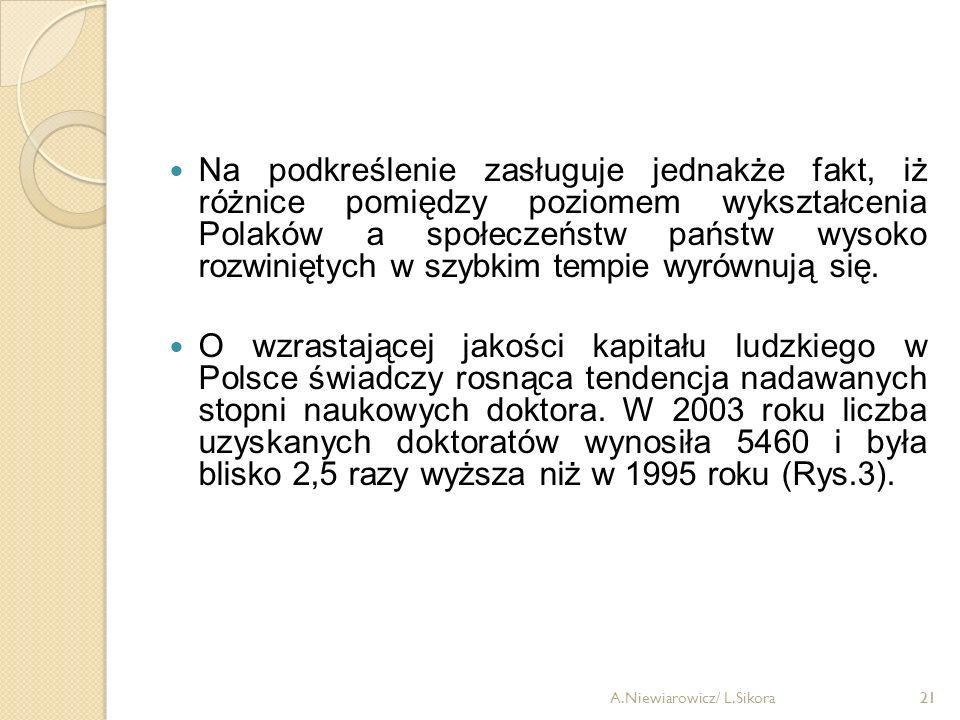 Na podkreślenie zasługuje jednakże fakt, iż różnice pomiędzy poziomem wykształcenia Polaków a społeczeństw państw wysoko rozwiniętych w szybkim tempie wyrównują się.