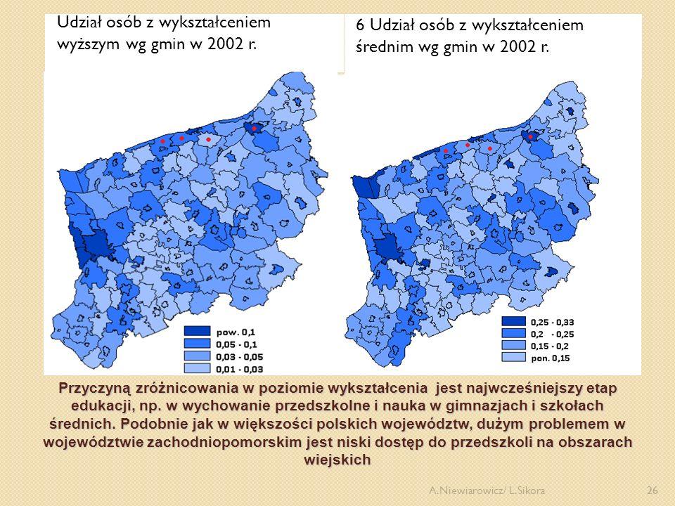 Udział osób z wykształceniem wyższym wg gmin w 2002 r.