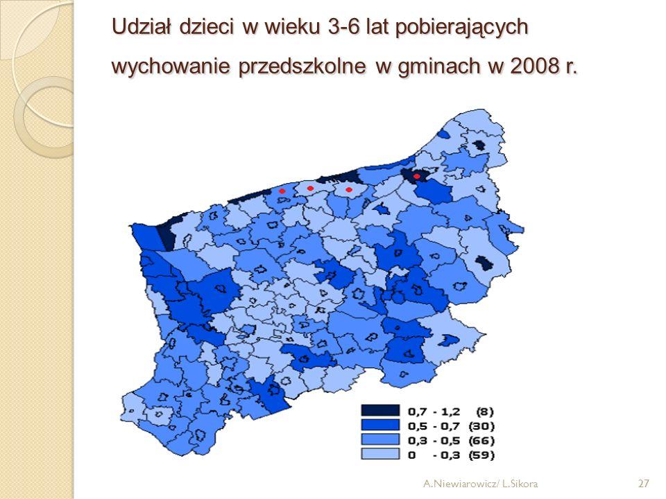 Udział dzieci w wieku 3-6 lat pobierających wychowanie przedszkolne w gminach w 2008 r.