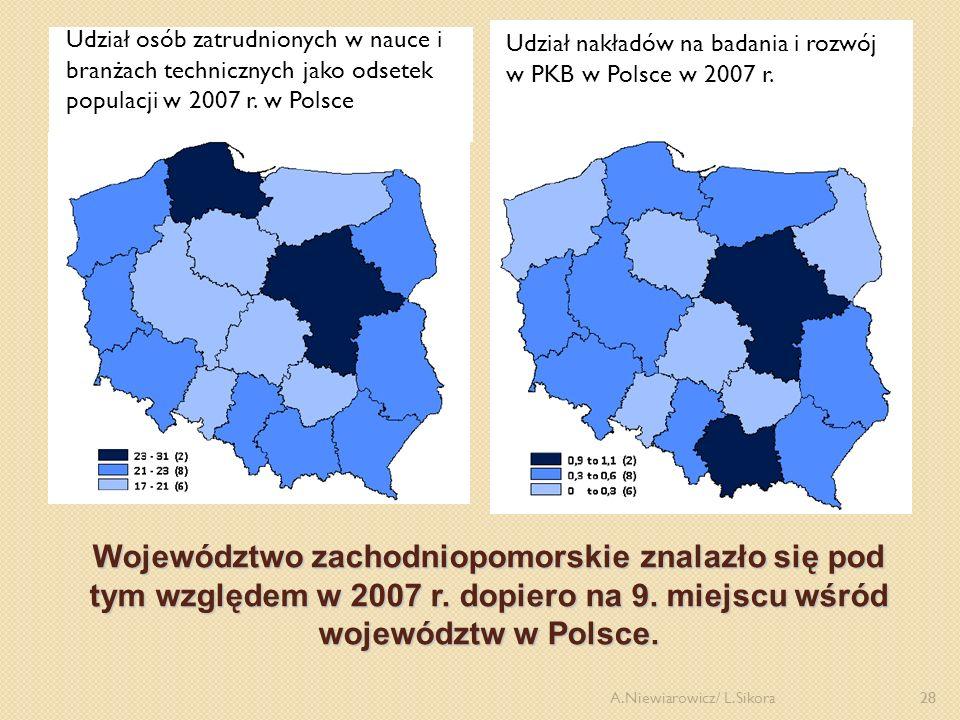 Udział nakładów na badania i rozwój w PKB w Polsce w 2007 r.