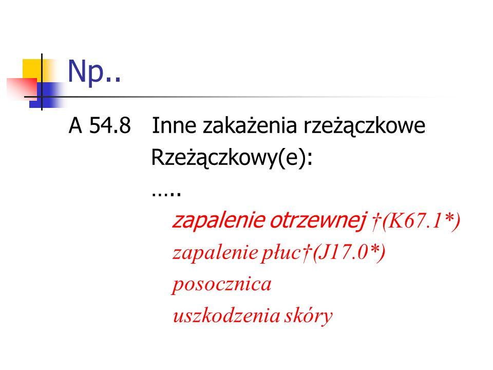 Np.. A 54.8 Inne zakażenia rzeżączkowe Rzeżączkowy(e): …..