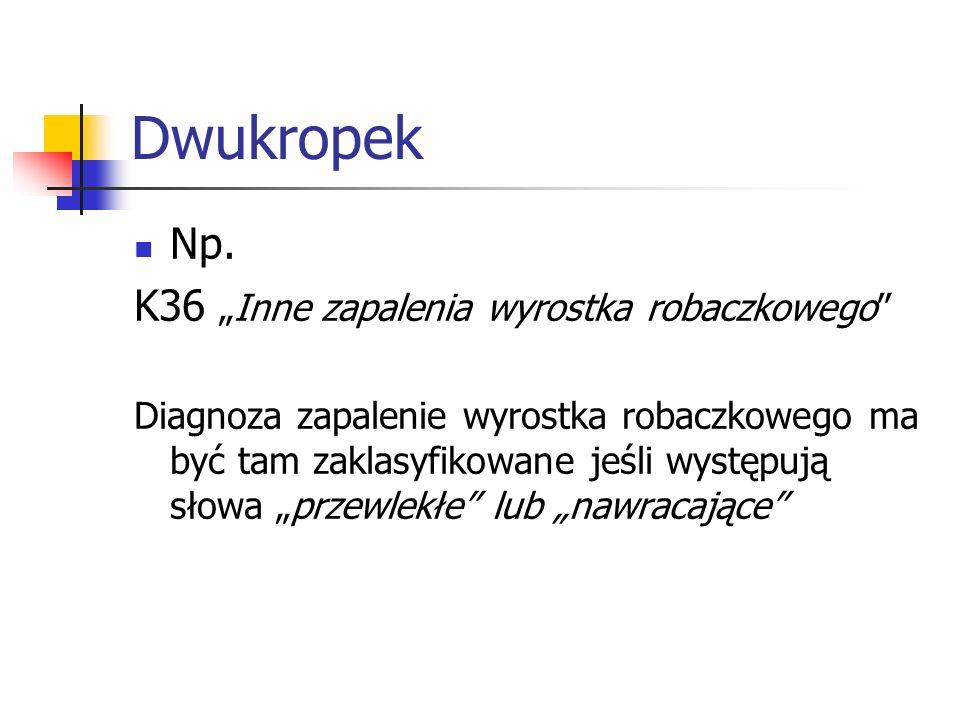 """Dwukropek Np. K36 """"Inne zapalenia wyrostka robaczkowego"""