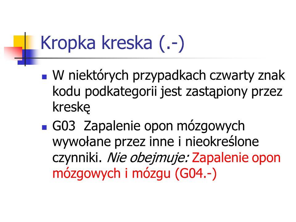 Kropka kreska (.-) W niektórych przypadkach czwarty znak kodu podkategorii jest zastąpiony przez kreskę.