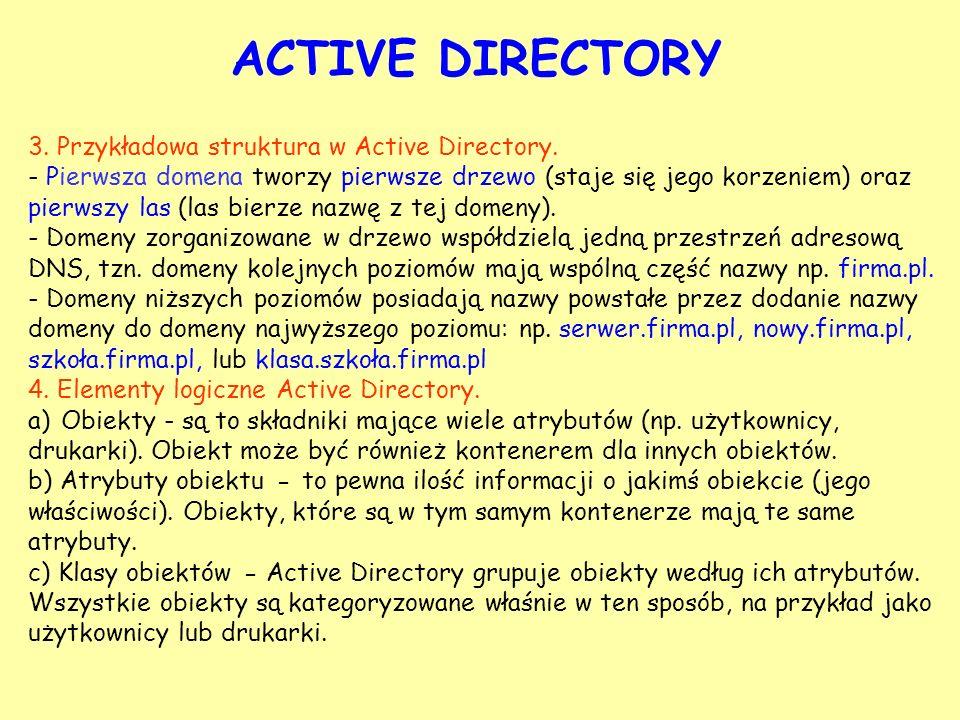 ACTIVE DIRECTORY 3. Przykładowa struktura w Active Directory.