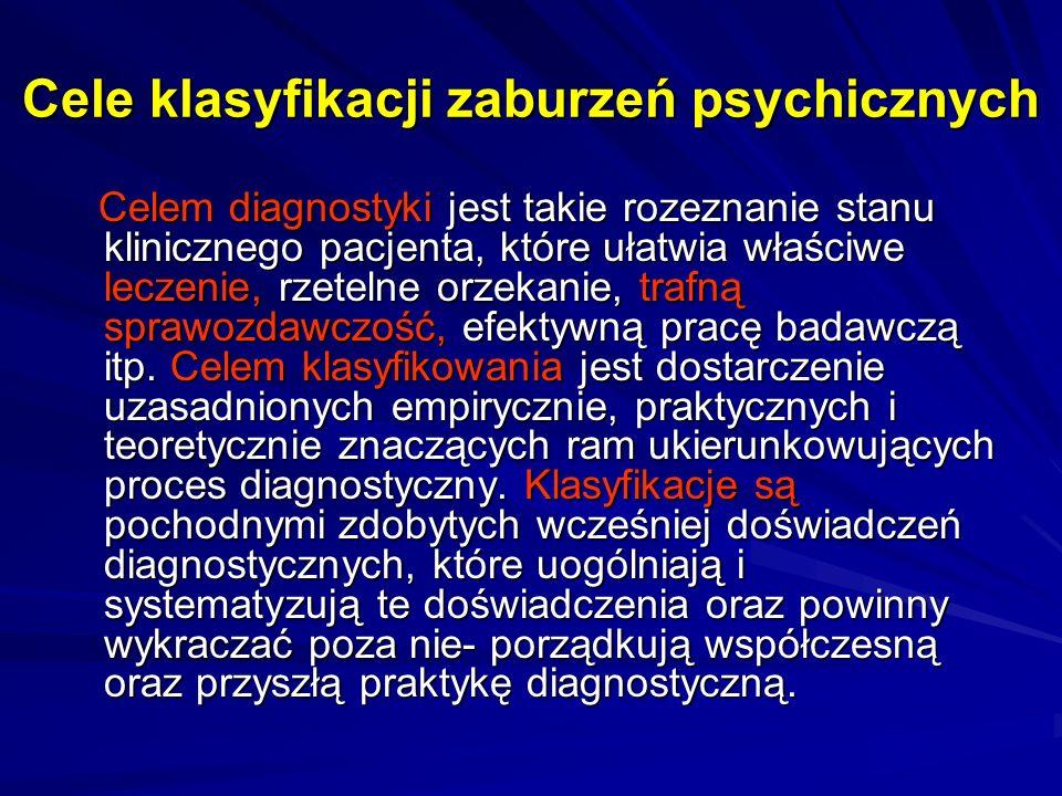 Cele klasyfikacji zaburzeń psychicznych