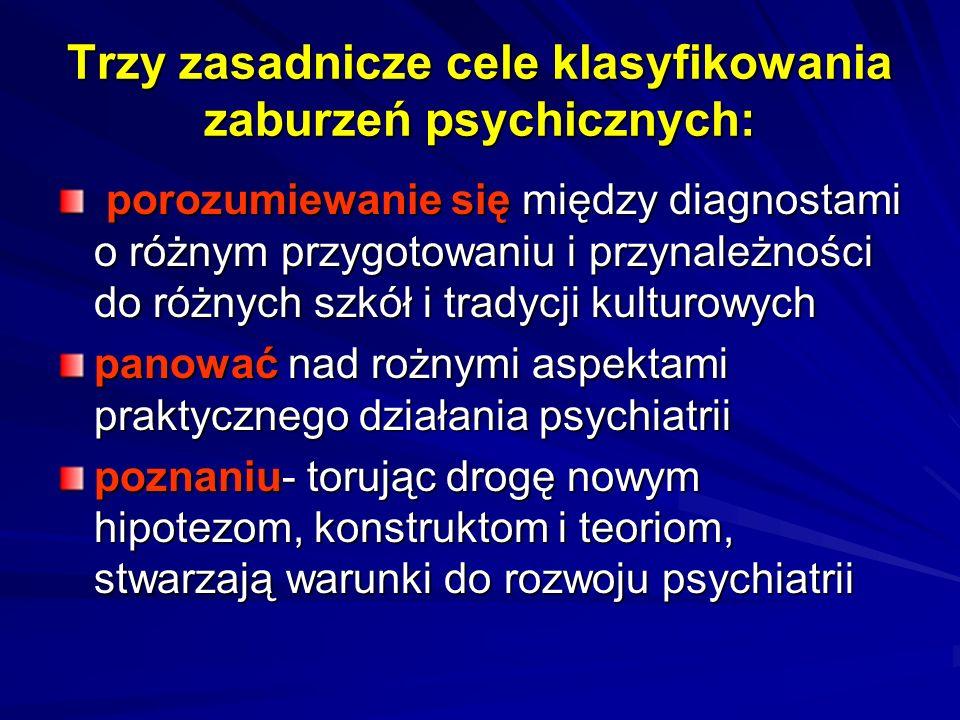 Trzy zasadnicze cele klasyfikowania zaburzeń psychicznych: