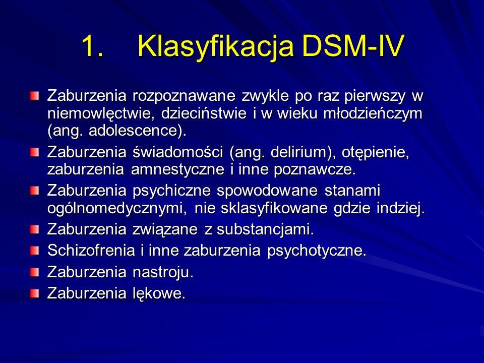 1. Klasyfikacja DSM-IV Zaburzenia rozpoznawane zwykle po raz pierwszy w niemowlęctwie, dzieciństwie i w wieku młodzieńczym (ang. adolescence).