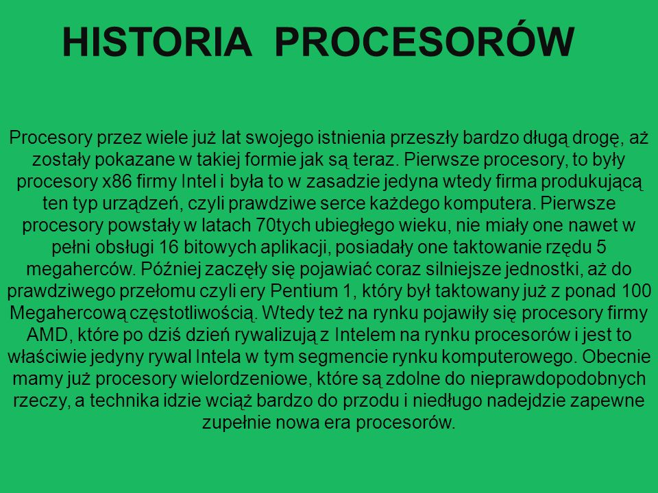 HISTORIA PROCESORÓW