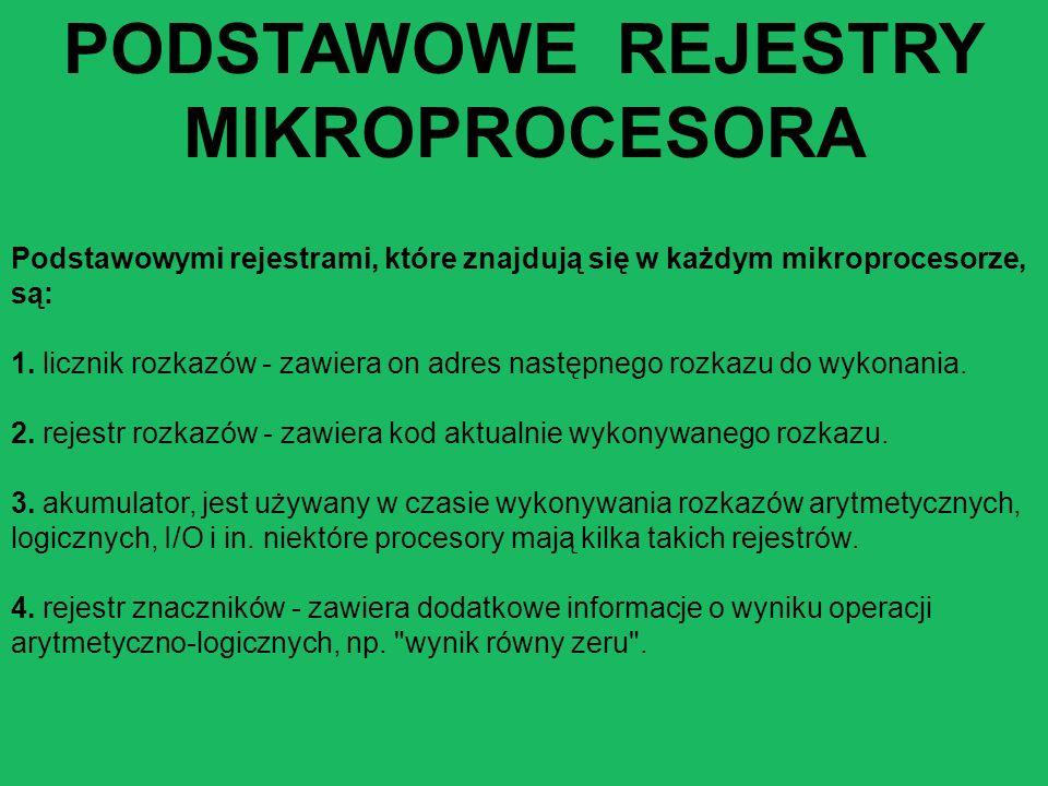 PODSTAWOWE REJESTRY MIKROPROCESORA