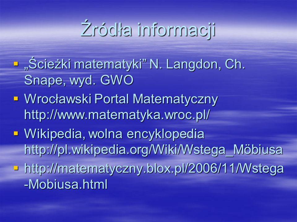 """Źródła informacji """"Ścieżki matematyki N. Langdon, Ch. Snape, wyd. GWO"""