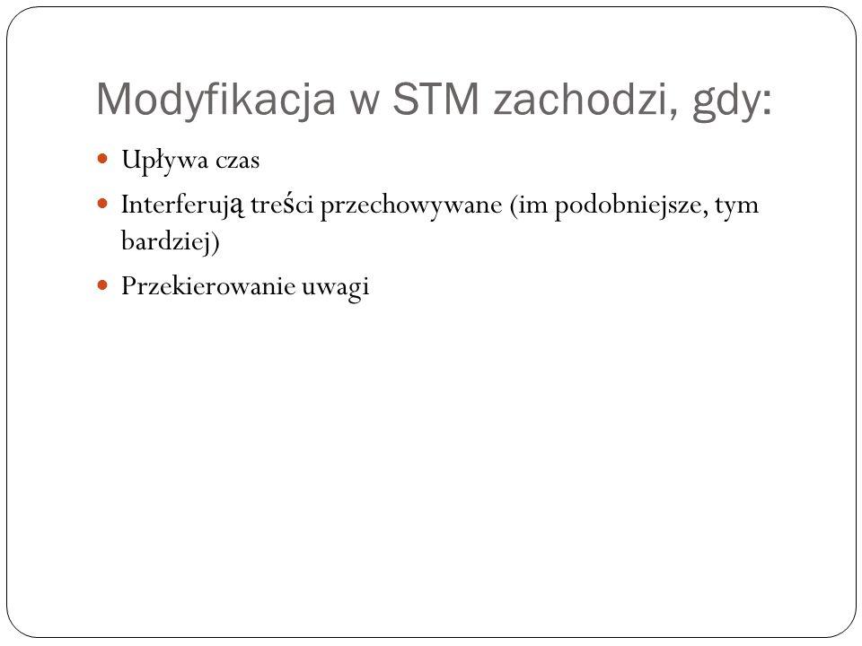 Modyfikacja w STM zachodzi, gdy: