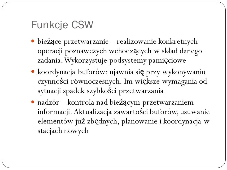 Funkcje CSW
