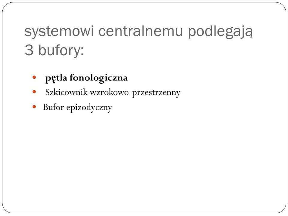 systemowi centralnemu podlegają 3 bufory: